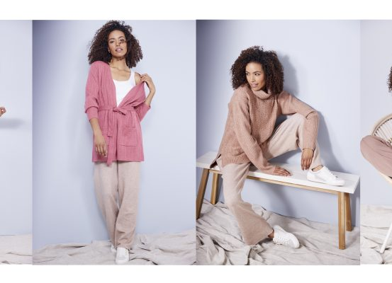 a series of images of a woman in loungewear